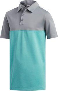 adidas Boys' Heather Color Blocked Golf Polo