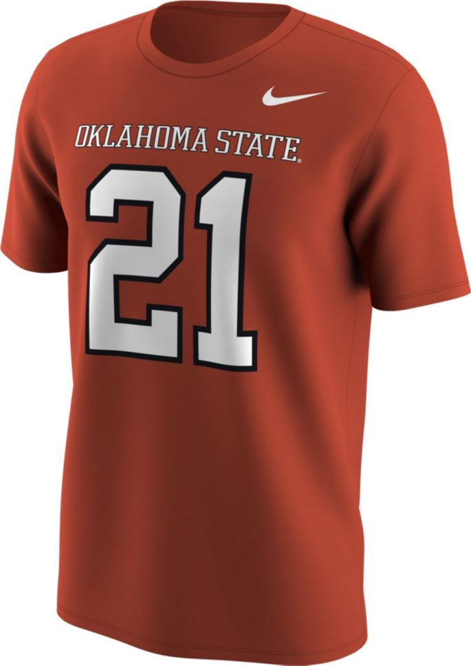 low cost 6d469 63bca Nike Men's Oklahoma State Cowboys Barry Sanders #21 Orange Football Jersey  T-Shirt