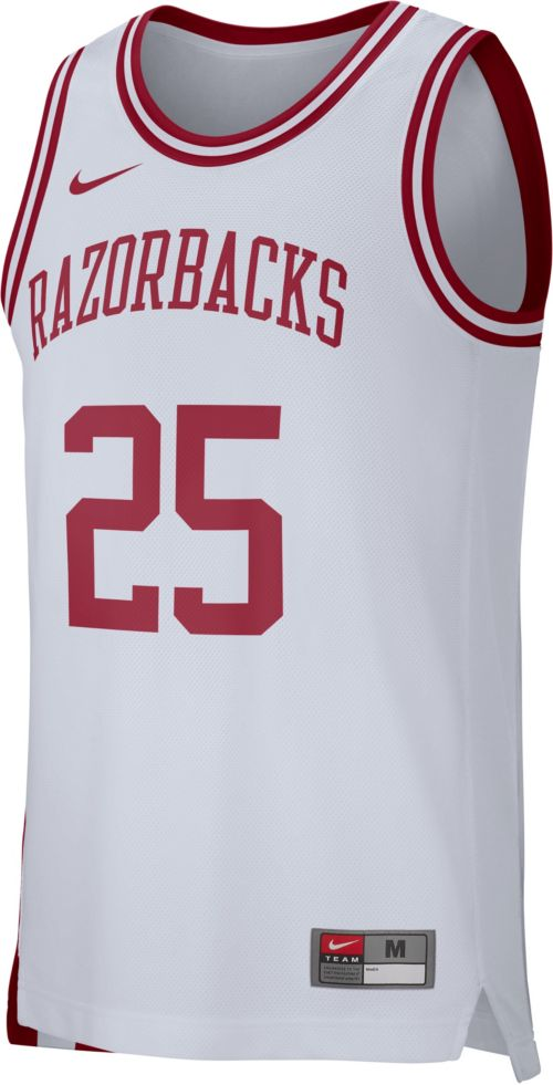 eea5039fec2 Nike Men s Arkansas Razorbacks White  25 Replica Basketball Jersey ...