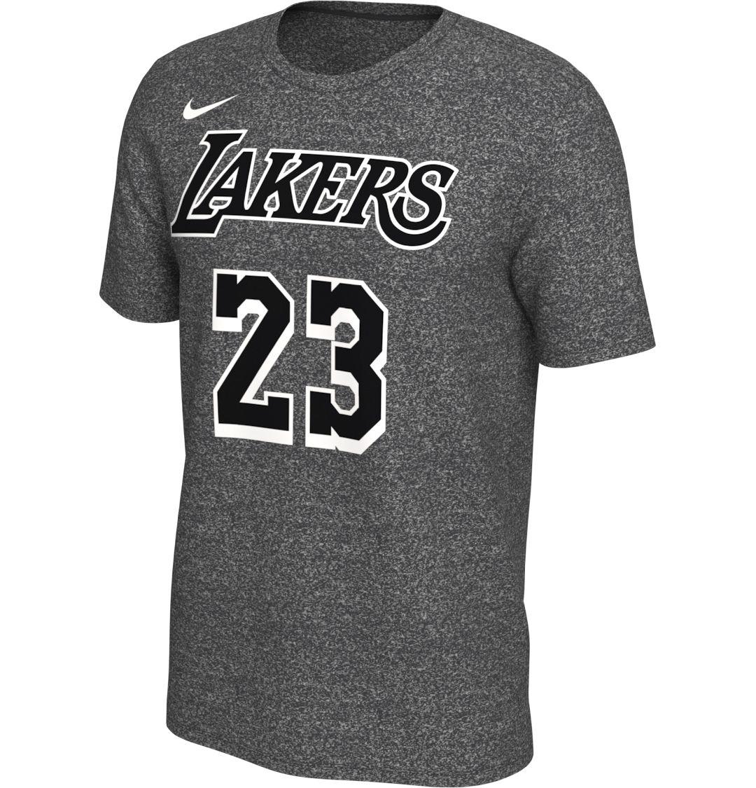 2b95467bc43a Nike Men's Los Angeles Lakers LeBron James #23 Dri-FIT Grey T-Shirt ...