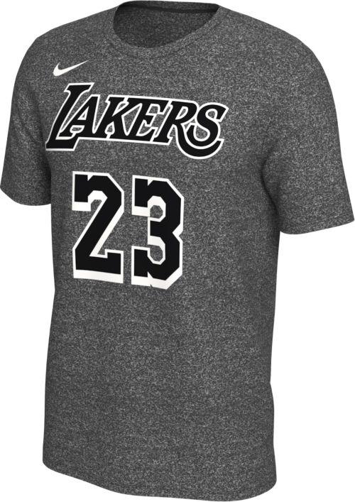 f4c75fef1ffa Nike Men s Los Angeles Lakers LeBron James  23 Dri-FIT Grey T-Shirt ...