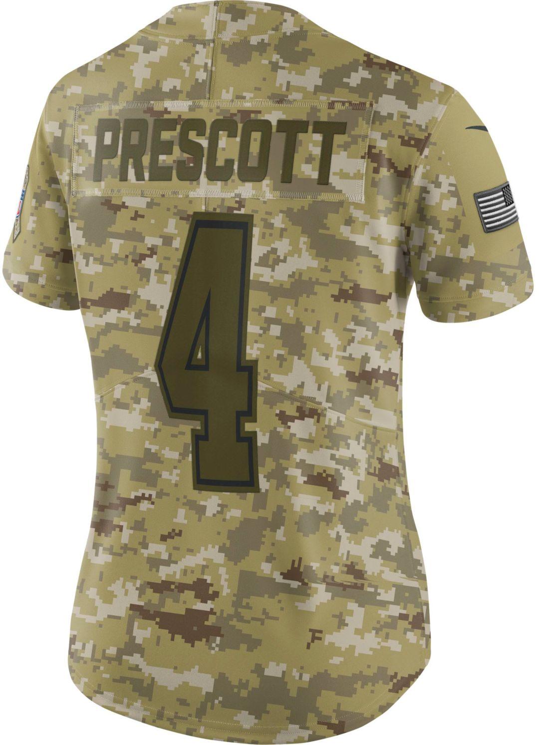 5f2fbe2bd79 Nike Women's Salute to Service Dallas Cowboys Dak Prescott #4 Limited  Camouflage Jersey 3