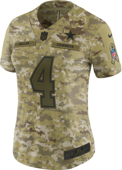 6b7419ea Nike Women's Salute to Service Dallas Cowboys Dak Prescott #4 Camouflage  Limited Jersey. noImageFound. Previous. 1. 2