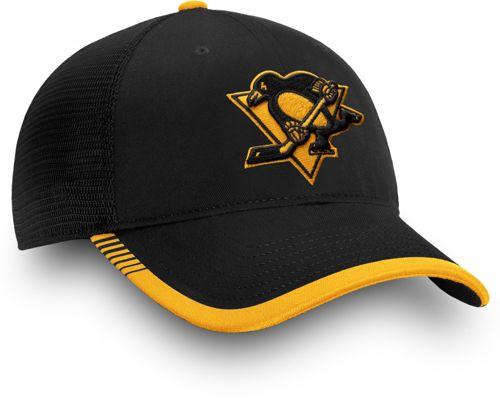 469a7f5da3731 NHL Men s Pittsburgh Penguins Stripe Trucker Black Snapback Adjustable Hat.  noImageFound. Previous. 1. 2. 3