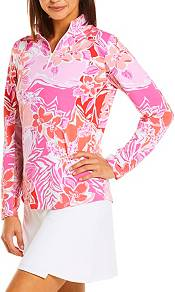 IBKUL Women's 1/4 Zip Long Sleeve Mock Neck Golf Pullover product image