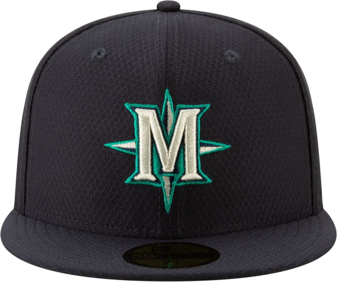 hot sale online 52c75 ece18 New Era Men's Seattle Mariners 59Fifty HexTech Batting Practice Fitted Hat