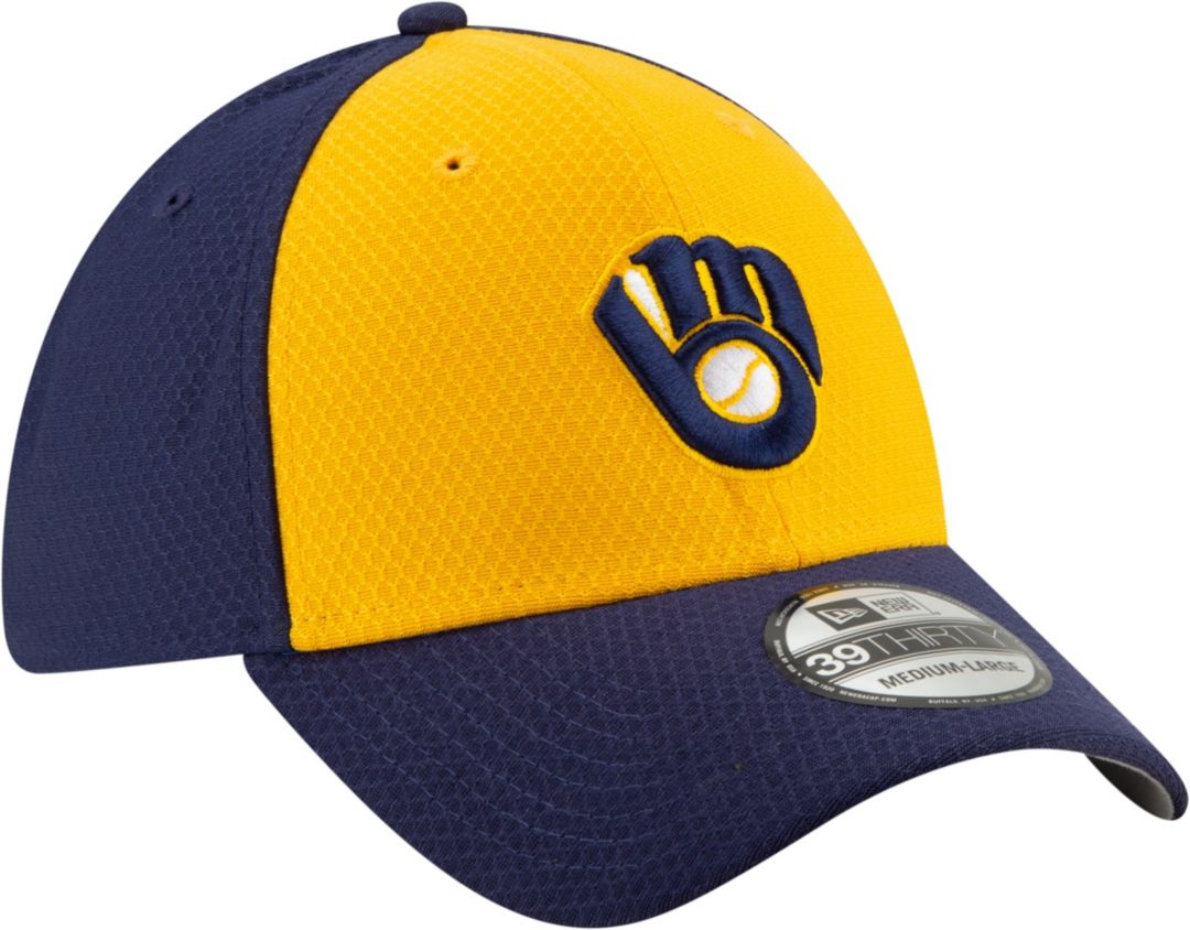buy online 6b6c8 a8764 New Era Men s Milwaukee Brewers 39Thirty HexTech Batting Practice Stretch  Fit Hat 3