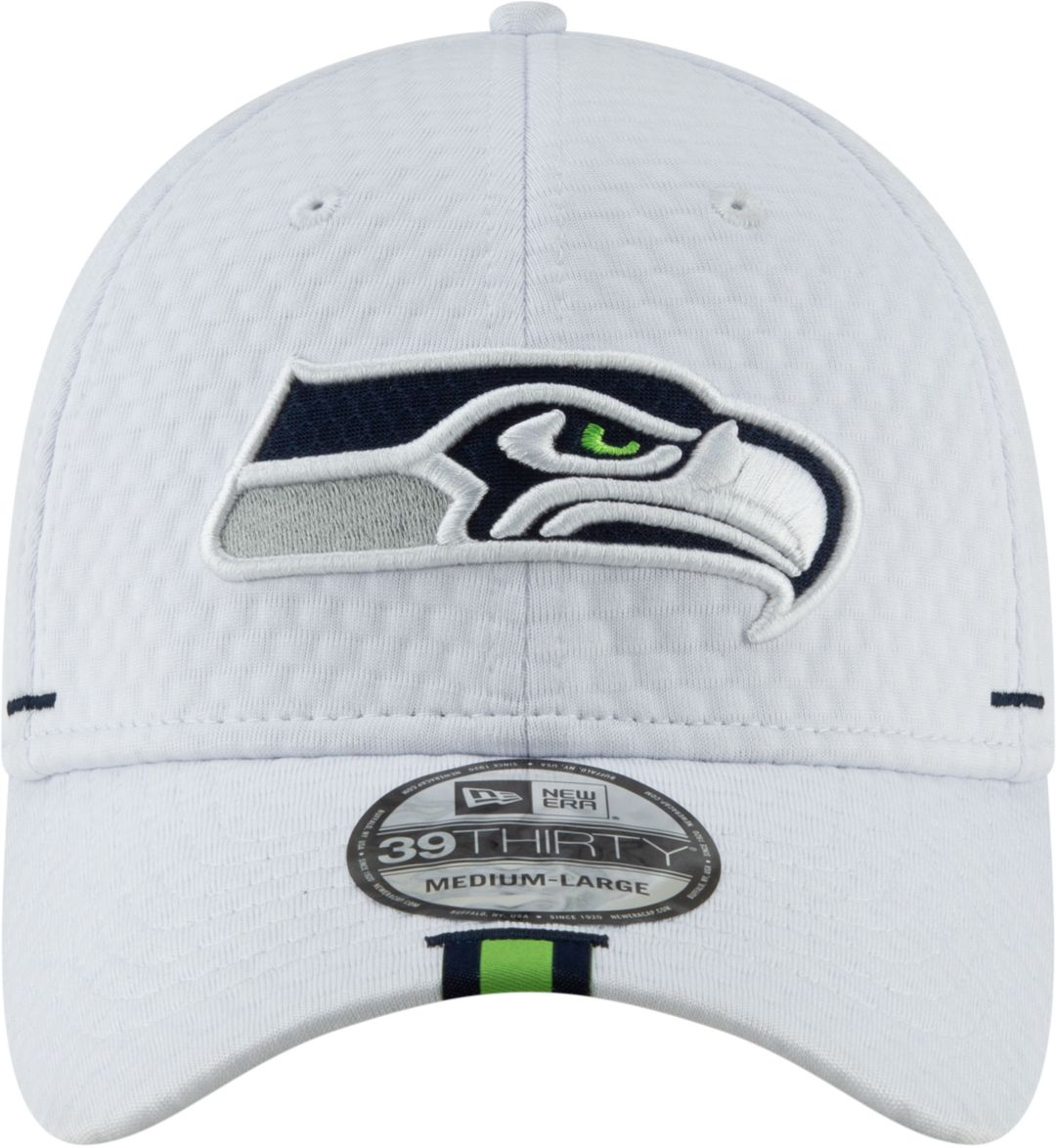 new style 2b942 6c7d9 New Era Men s Seattle Seahawks Sideline Training Camp 39Thirty Stretch Fit  White Hat 2