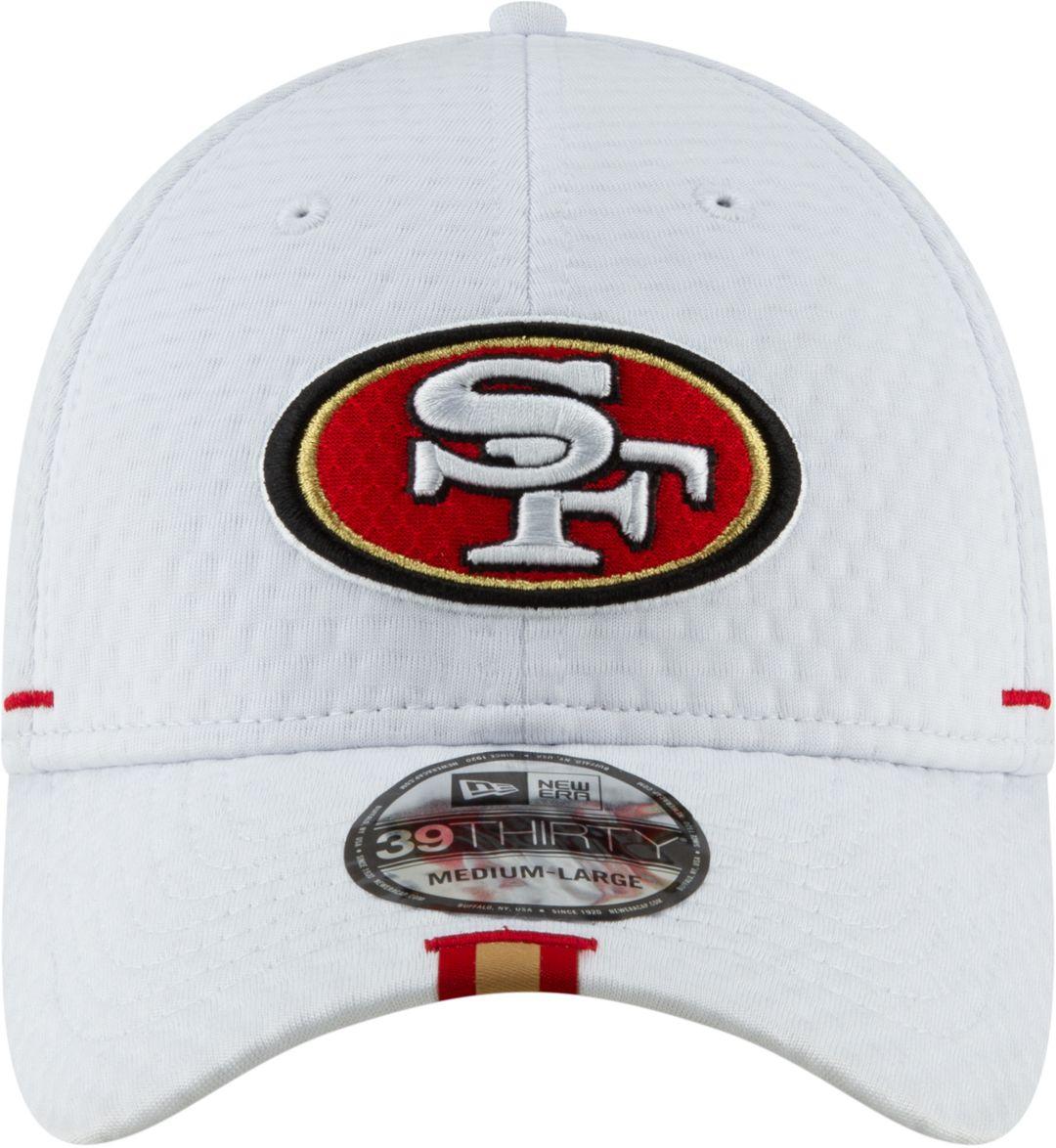 c72c2329e New Era Men's San Francisco 49ers Sideline Training Camp 39Thirty Stretch  Fit White Hat