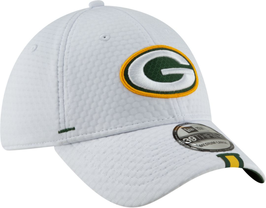15b7cdc3 New Era Men's Green Bay Packers Sideline Training Camp 39Thirty Stretch Fit  White Hat