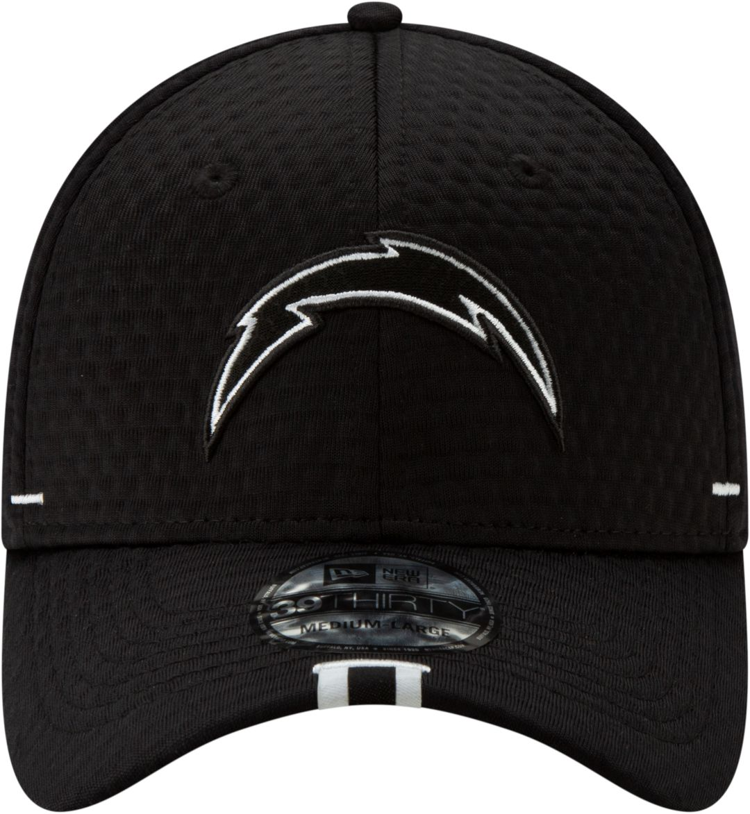 free shipping b9937 a1d67 New Era Men s Los Angeles Chargers Sideline Training Camp 39Thirty Stretch  Fit Black Hat