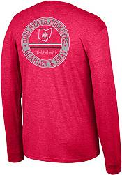 Scarlet & Gray Men's Ohio State Buckeyes Scarlet Heritage Tri-Blend Long Sleeve T-Shirt product image
