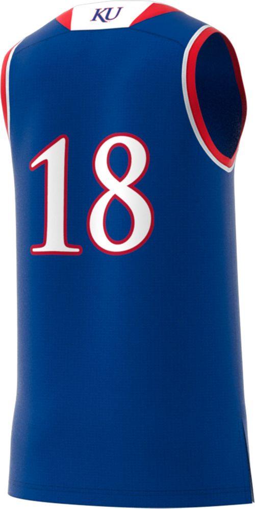 6c13e39be94 adidas Men s Kansas Jayhawks  18 Blue Replica Basketball Jersey ...