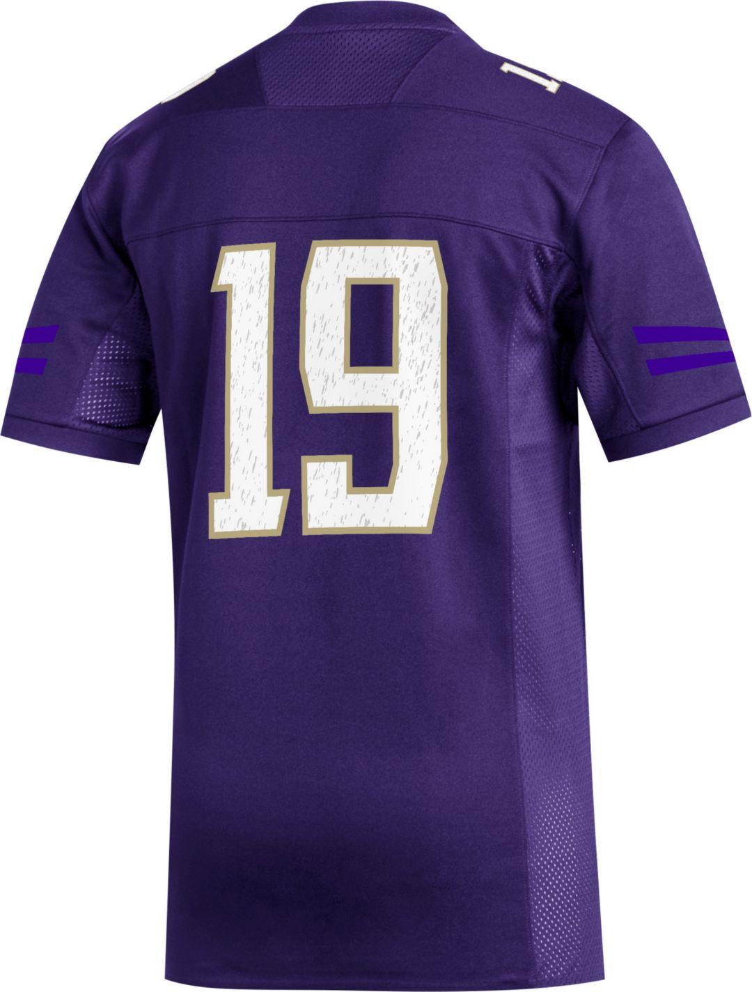 new arrivals 37248 75160 adidas Men's Washington Huskies #19 Purple Replica Football Jersey