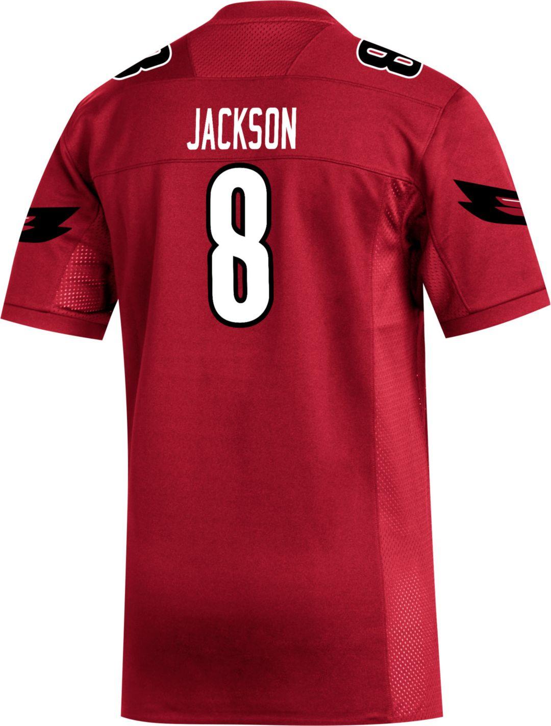 buy popular aecda 16f91 adidas Men's Lamar Jackson Louisville Cardinals #8 Cardinal Red Replica  Football Jersey