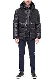 Tommy Hilfiger Men's Quilted Chevron Shiny and Matte Hooded Puffer Jacket product image