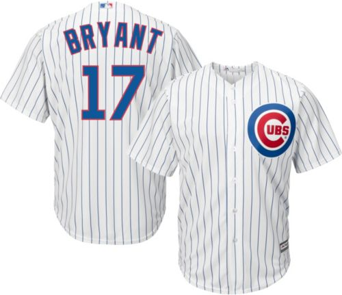 Majestic Men s Replica Chicago Cubs Kris Bryant  17 Cool Base Home White  Jersey. noImageFound. Previous 2622cd1da