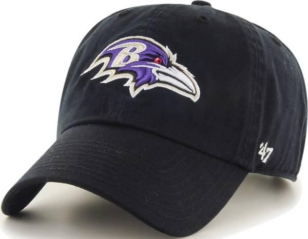 '47 Men's Baltimore Ravens Black Clean Up Adjustable Hat product image