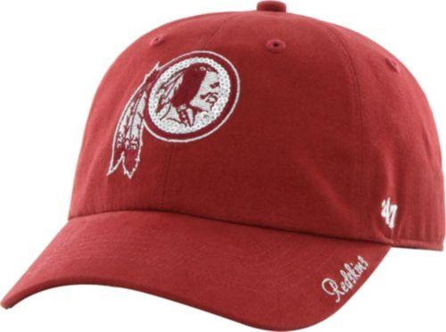 47 Women s Washington Redskins Sparkle Logo Red Adjustable Hat ... 93717af29