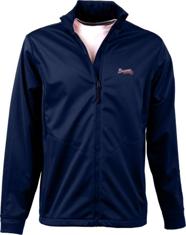 Antigua Men's Atlanta Braves Full-Zip Navy Golf Jacket product image