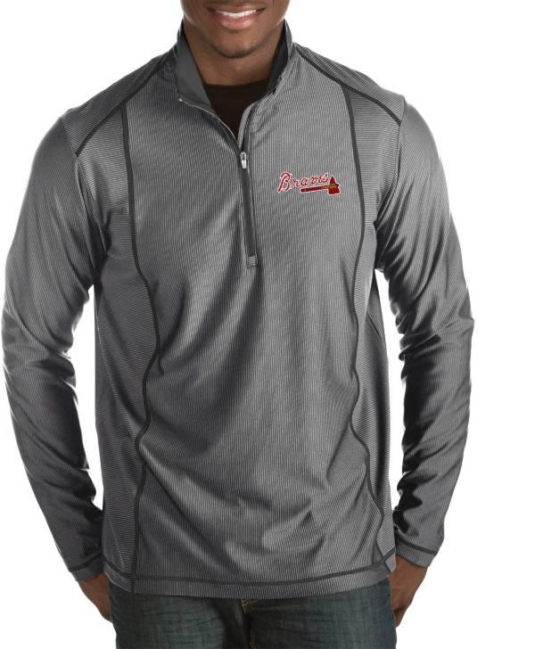 Antigua Men's Atlanta Braves Tempo Grey Quarter-Zip Pullover product image