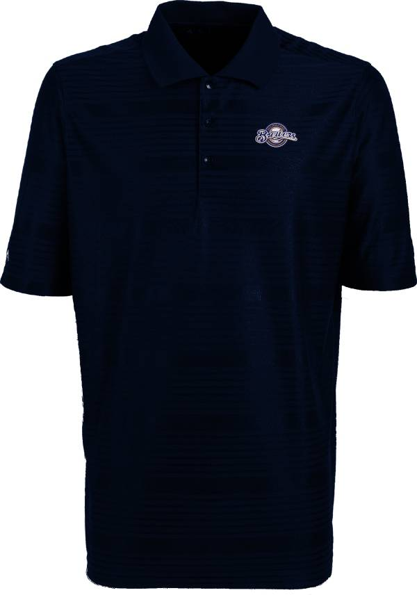Antigua Men's Milwaukee Brewers Illusion Navy Striped Performance Polo product image