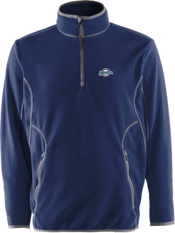 Antigua Men's Milwaukee Brewers Quarter-Zip Navy Ice Pullover product image