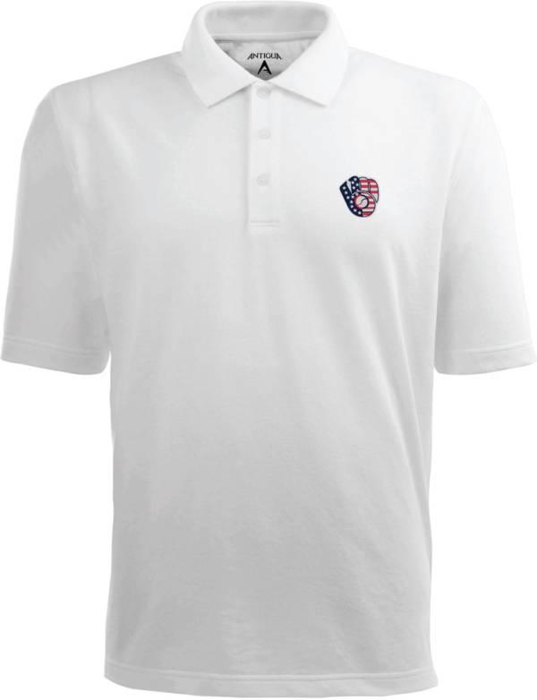 Antigua Men's Milwaukee Brewers Xtra-Lite Patriotic Logo White Pique Performance Polo product image