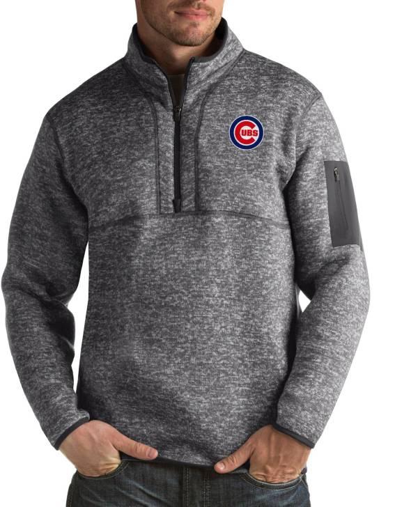 Antigua Men's Chicago Cubs Fortune Grey Half-Zip Pullover product image