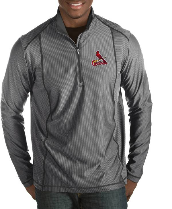 Antigua Men's St. Louis Cardinals Tempo Grey Quarter-Zip Pullover product image