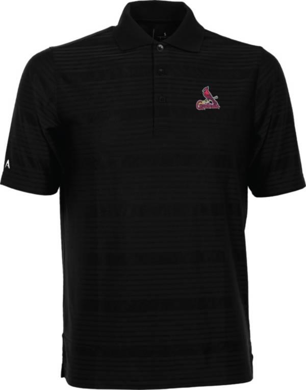 Antigua Men's St. Louis Cardinals Illusion Black Striped Performance Polo product image