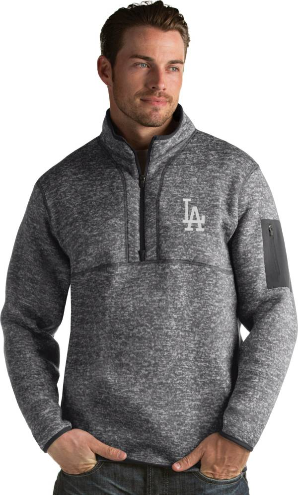 Antigua Men's Los Angeles Dodgers Grey Fortune Half-Zip Pullover product image