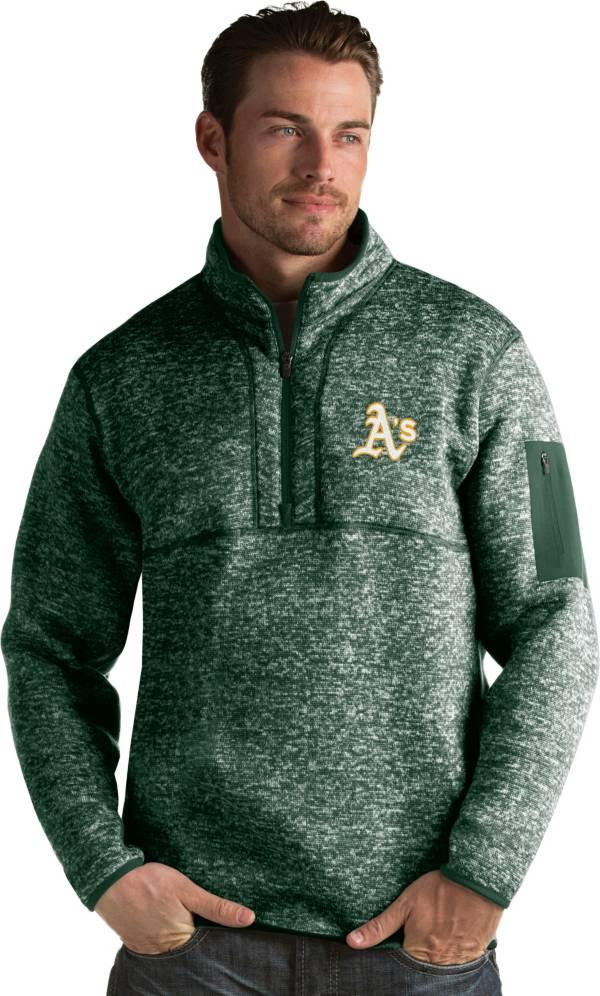 Antigua Men's Oakland Athletics Green Fortune Half-Zip Pullover product image