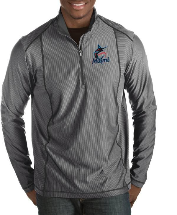 Antigua Men's Miami Marlins Tempo Grey Quarter-Zip Pullover product image