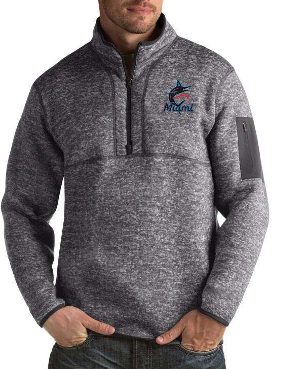 Antigua Men's Miami Marlins Fortune Grey Half-Zip Pullover product image