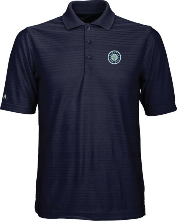 Antigua Men's Seattle Mariners Illusion Navy Striped Performance Polo product image