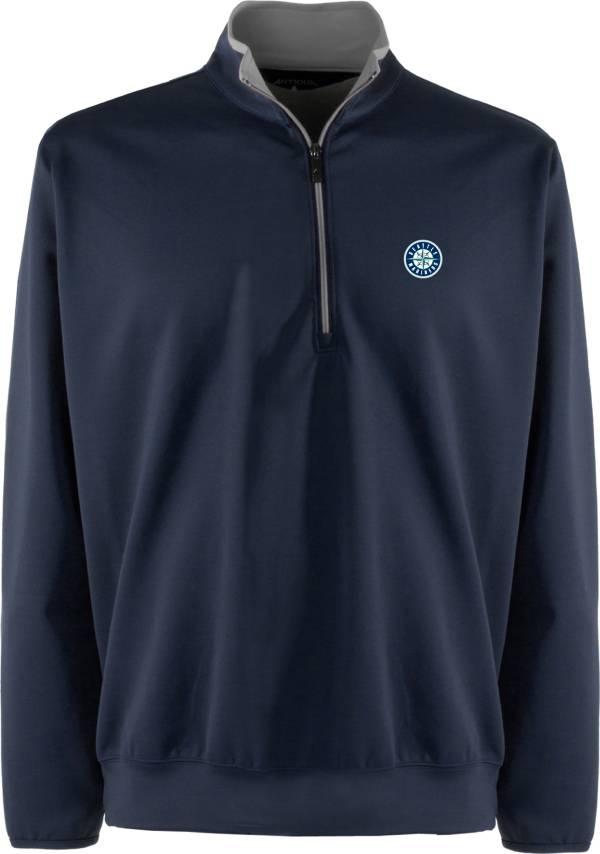 Antigua Men's Seattle Mariners Leader Navy Quarter-Zip Pullover product image