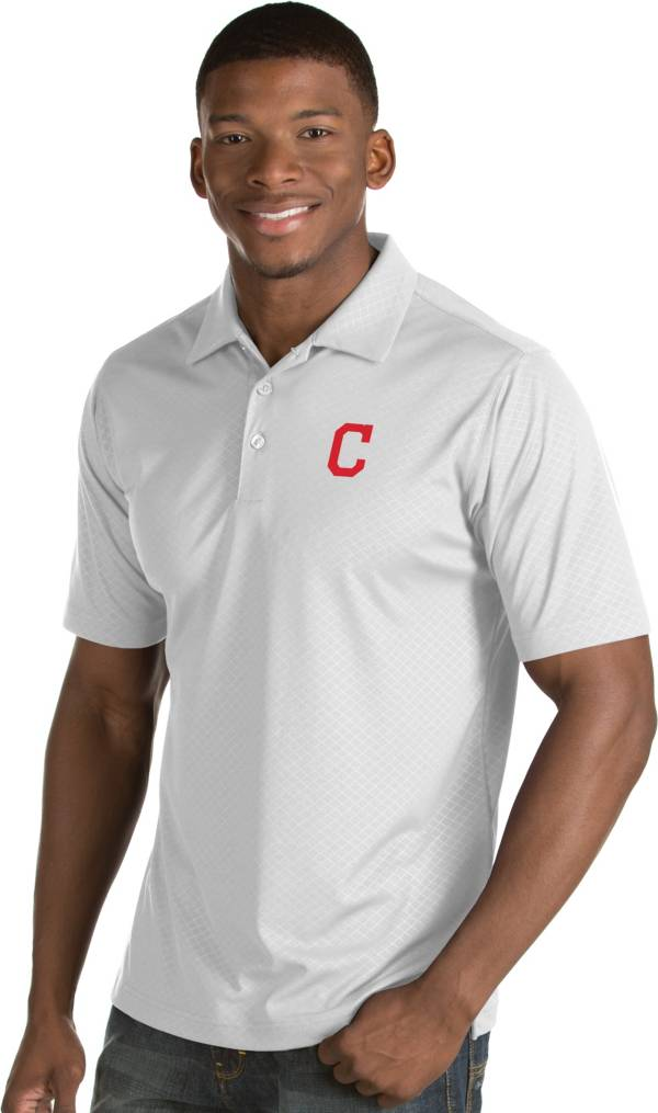 Antigua Men's Cleveland Indians White Inspire Performance Polo product image