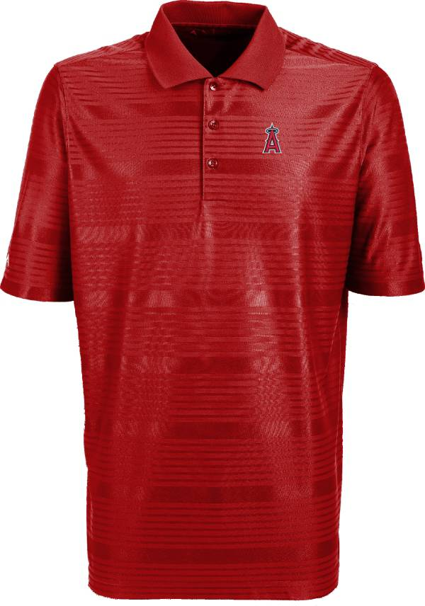 Antigua Men's Los Angeles Angels Illusion Red Striped Performance Polo product image