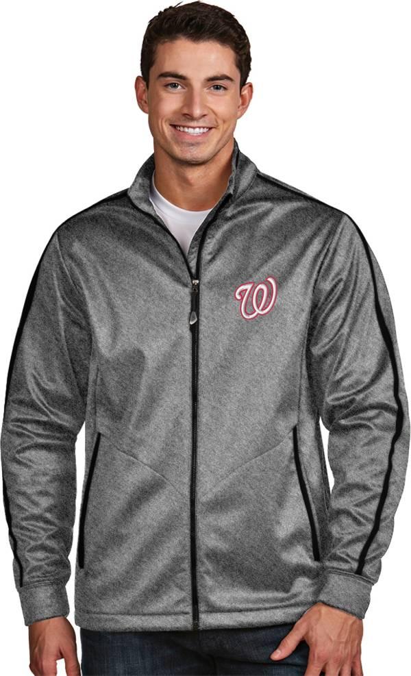 Antigua Men's Washington Nationals Grey Golf Jacket product image