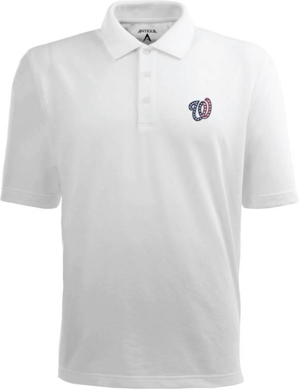 Antigua Men's Washington Nationals Xtra-Lite Patriotic Logo White Pique Performance Polo product image