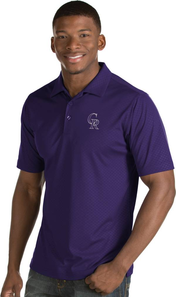 Antigua Men's Colorado Rockies Purple Inspire Performance Polo product image