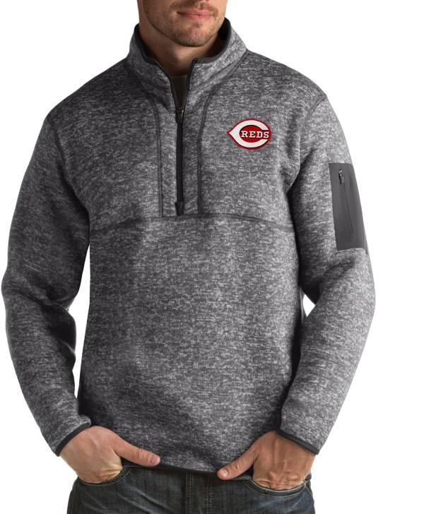 Antigua Men's Cincinnati Reds Fortune Grey Half-Zip Pullover product image