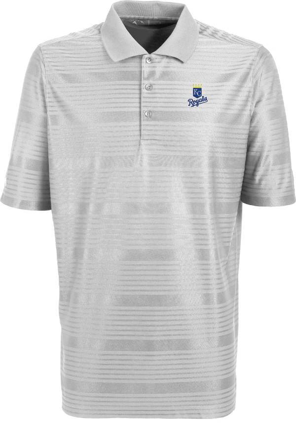 Antigua Men's Kansas City Royals Illusion White Striped Performance Polo product image