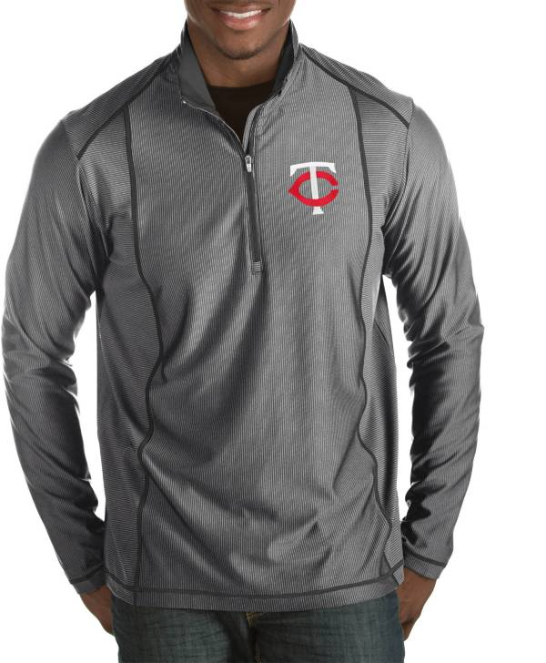 Antigua Men's Minnesota Twins Tempo Grey Quarter-Zip Pullover product image