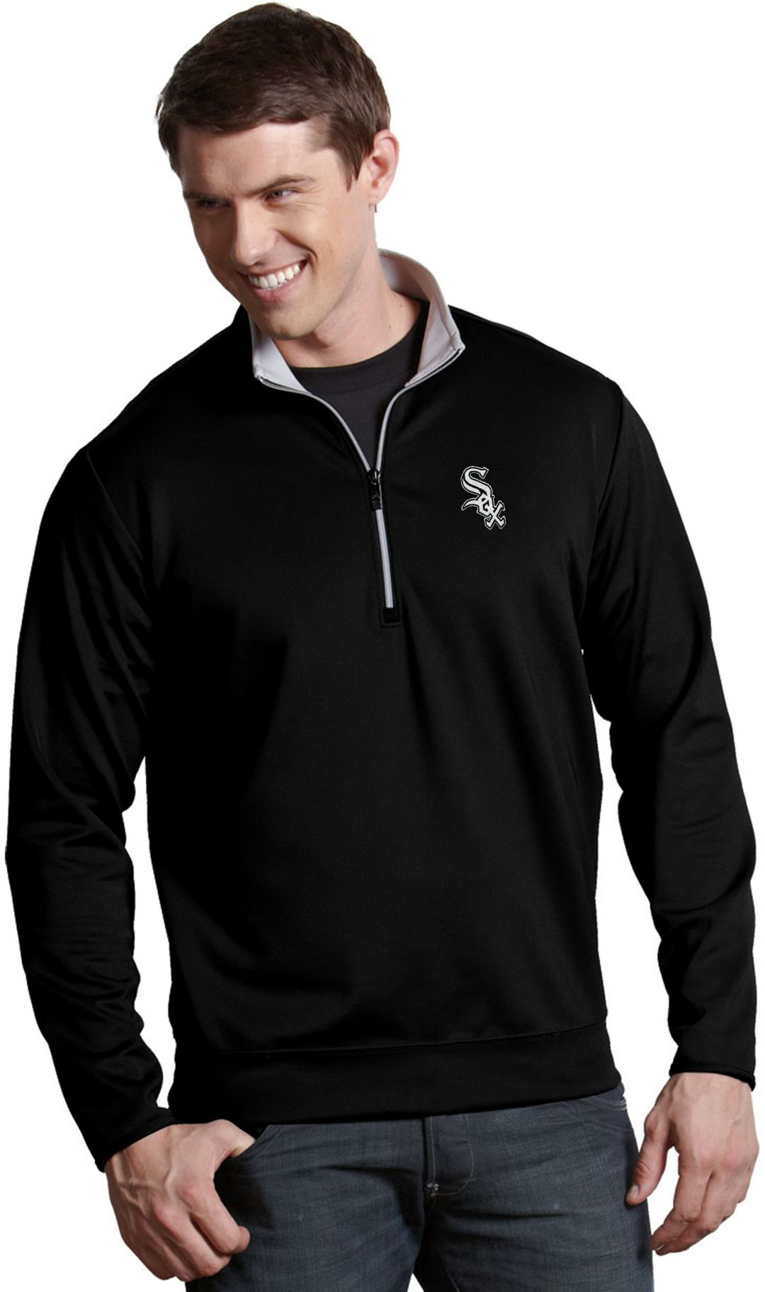 various colors 58f77 78b62 Antigua Men's Chicago White Sox Leader Black Quarter-Zip Pullover