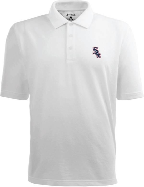 Antigua Men's Chicago White Sox Xtra-Lite Patriotic Logo White Pique Performance Polo product image