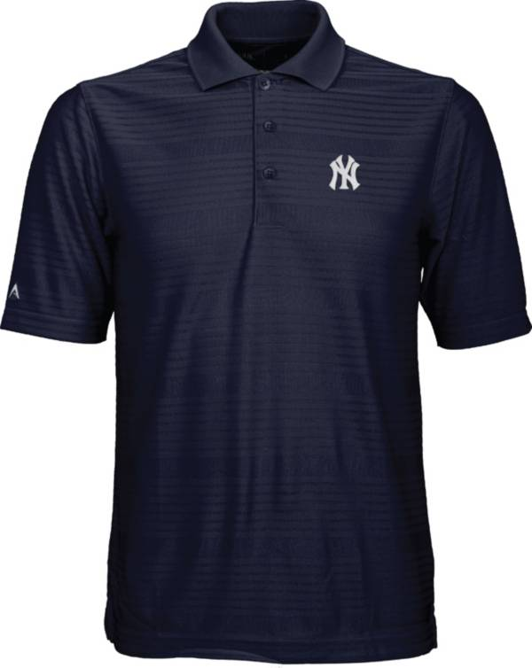 Antigua Men's New York Yankees Illusion Navy Striped Performance Polo product image