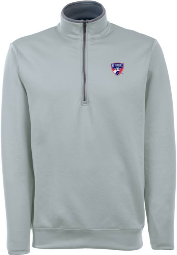 Antigua Men's FC Dallas Leader Silver Quarter-Zip Jacket product image