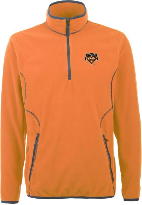 Antigua Men's Houston Dynamo Ice Orange Quarter-Zip Fleece Jacket product image